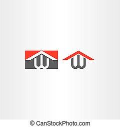 w, casa, logotype, vettore, lettera, logotipo, casa
