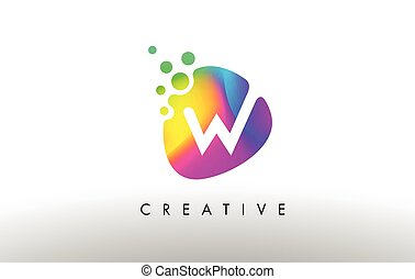 W Colorful Logo Design Shape. Purple Abstract Shape Letter Icon