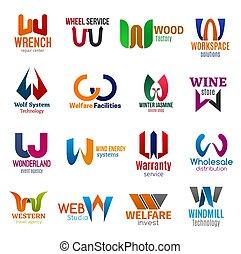 w, empresa / negocio, identidad, iconos, carta, corporativo