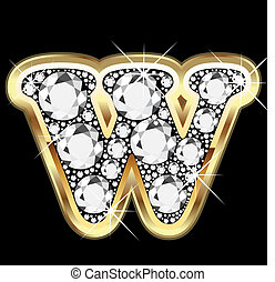 W gold and diamond bling