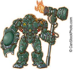 w/, guerriero, martello, scudo, robot