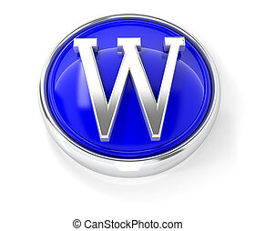 W icon on glossy blue round button