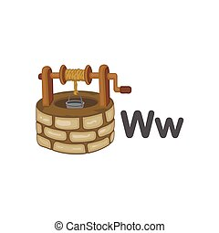 W is for Well alphabet vector