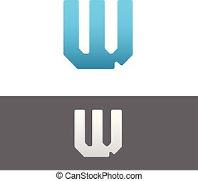 W Letter Alphabet Abstract vector text logo