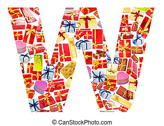 W Letter - Alphabet made of giftboxes