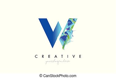 W Letter Icon Design Logo With Creative Artistic Ink Painting Flow in Blue Green Colors