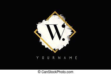 W Letter Logo Design with White Stroke and Golden Frame.
