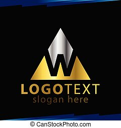 W Letter Logo in triangle Vector Template