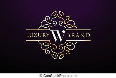 W Letter Logo Luxury.Royal Monogram Design with Golden Metal...