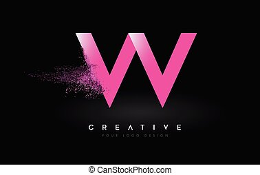 W Letter Logo with Dispersion Effect and Purple Pink Powder ...