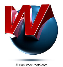 W logo isolated on white background illustration 3D rendering with clipping path.