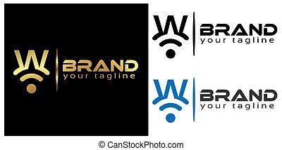 W online logo template, stock logo template.