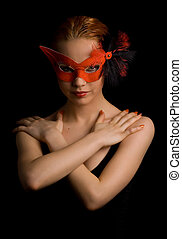 w - mysterious lady in red mask holding her arms in w shape
