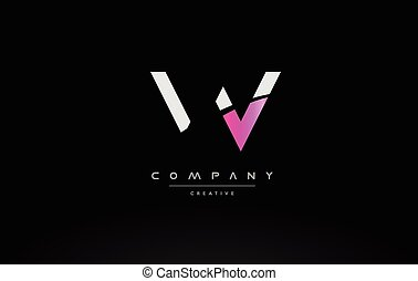 w pink black white creative modern letter logo icon design vector