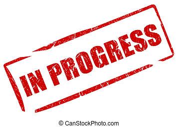 w, postęp, tłoczyć