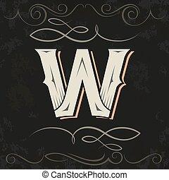 w, retro, occidental, carta, style., design.