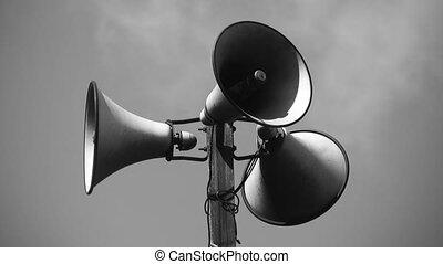 w/, speakers., tour, porte voix, trois