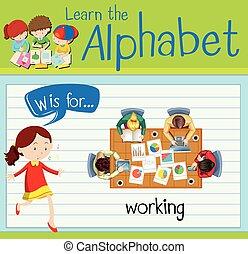 w, trabalhando, letra, flashcard
