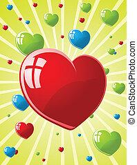 w, valentines, illustrazione, vettore