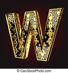 w vector black letter with gold