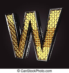 w vector golden and silver letter