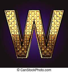 w vector golden letter