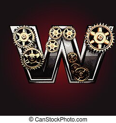 w vector letter with gears