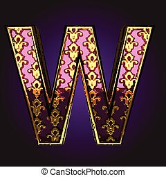 w  vector violet letter with gold