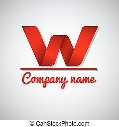 w, zakelijk, papier, brief, logo, pictogram