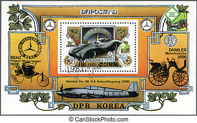 w196, corea, nord, 1981, francobollo, -, stuttgart, naposta-81, 1954, automobile, 1981:, mercedes-benz, internazionale, mostra, circa, mostra, stampato
