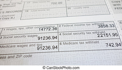 w2 form - Closeup of a W2 form showing Social Security and...