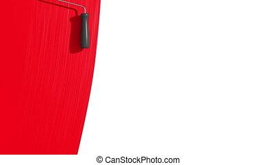 wałek, malarstwo, czerwony, color.