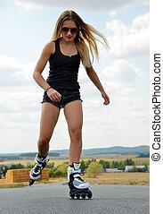 wałek, teenage, skates., dziewczyna