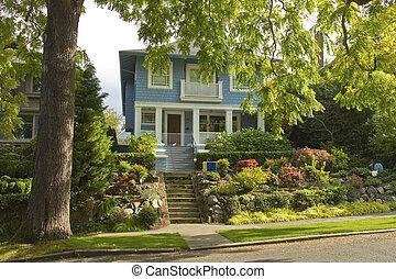 wa., área, casa, árvore, grande, residencial, seattle