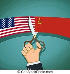 wa, アメリカ, ussr., 手, 旗, 人間, 切口, はさみ, 寒い