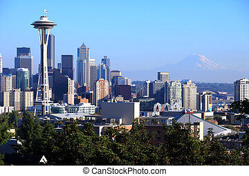 wa., &, skyline, regnerischer, mt., seattle