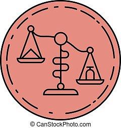waage, skalen., zeichen, schablone, logo, icon., symbol
