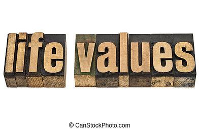 waarden, leven, hout, type