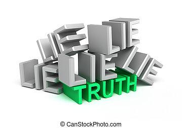 waarheid, onder, leugen, op, witte
