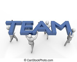 waarnemend, mannen, groep, 3d, team