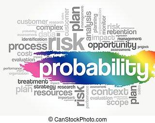 waarschijnlijkheid, collage, woord, wolk