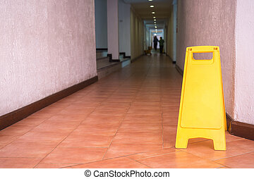 waarschuwend, hotel, meldingsbord, gang, vloer