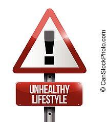 waarschuwend, levensstijl, ongezonde , meldingsbord