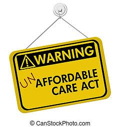 waarschuwend, van, un, affordable, gezondheidszorg