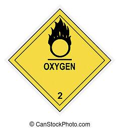 waarschuwend, zuurstof, etiket
