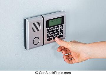 waarschuwing, hand, persoon, gebruik, huis veiligheid