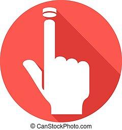 waarschuwing, het presen knop, hand, pictogram