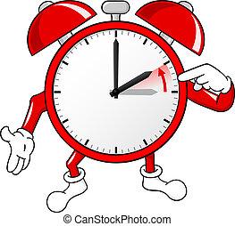 waarschuwing, standaard, tijd, veranderen, klok