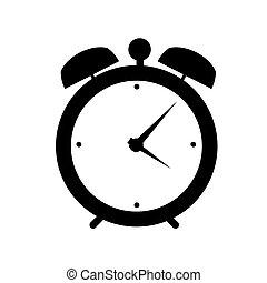 waarschuwing, vector, klok, illustratie, pictogram