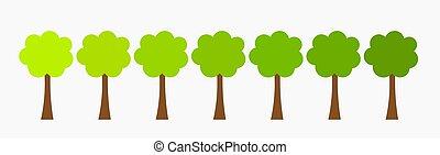 wachsen, bäume, row.